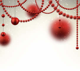 Background with red christmas baubles.