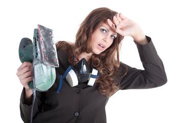 Geschäftsfrau steht unter Stress und arbeitet schwer