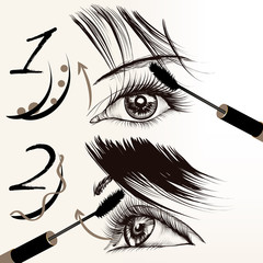 Fashion vector poster with makeup, mascara, female eyes and lash