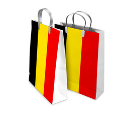 Two Shopping Bags opened and closed with the  flag from Belgium