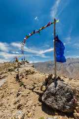 Buddhist prayer flags lungta in Spiti valley