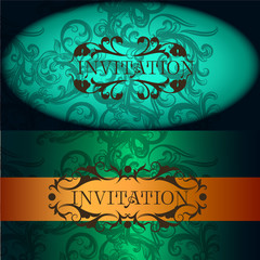 Invitation cards set in vintage style