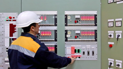 checking light indication on panel controls of gas in premises