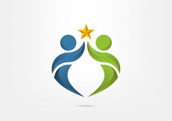 Human Abstract partnership succsess symbol logo