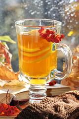 Still life with hot  tea in autumn decoration