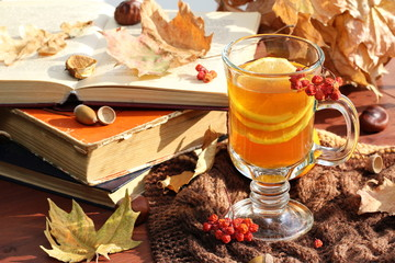 Still life with hot  tea in autumn decoration