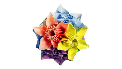 rotating colorful origami kusudama, white background