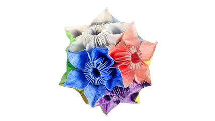 slow rotating of origami kusudama rotates, white background