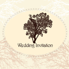 Wedding invitation in vintage style with tree