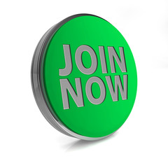 Join now circular icon on white background