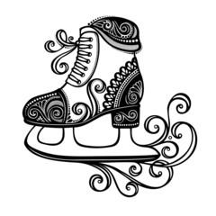 Beautiful Ornate Winter Skates (Vector), Patterned design