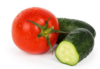 Ripe tomato and sliced ​​cucumber