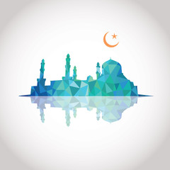 Colorful mosaic design - Mosque and Crescent moon, blue color