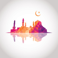 Colorful mosaic design - Mosque and Crescent moon