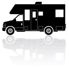 Motorhome Camper Van silhouette vector icon