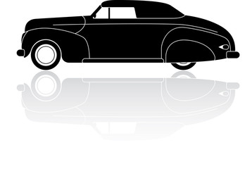 Vintage convertible coupe silhouette vector icon
