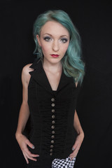 Girl with blue hair and black top