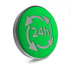 24 hours circular icon on white background