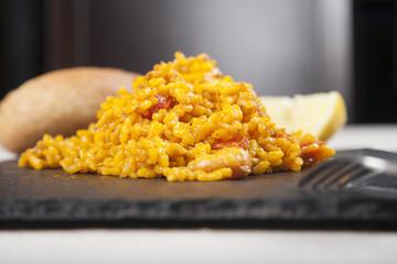 close up tapa of paella