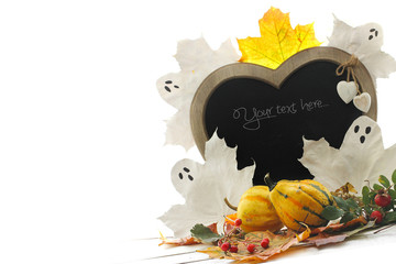 ghosts, pumpkins and blackboard for your text