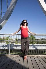 red shirt front pregnant woman