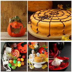 Set Halloween pumpkin,cake, treats and table setting