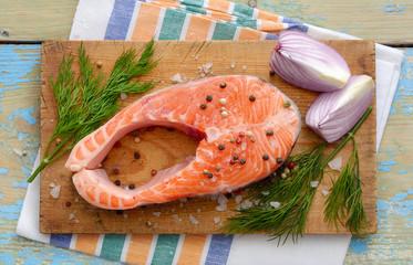 Salmon stake on board