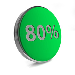 Eighty percent circular icon on white background