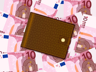 wallet on ten euro background