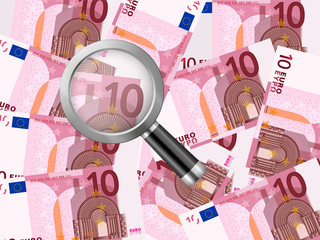 magnifier on ten euro background