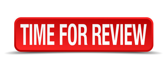 Time for review red 3d square button isolated on white