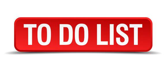 To do list red 3d square button isolated on white
