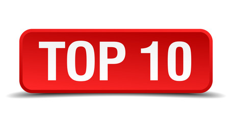Top 10 red 3d square button isolated on white