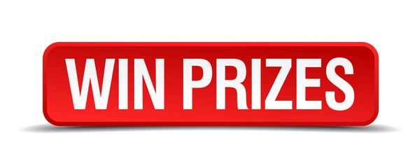 Win prizes red 3d square button isolated on white