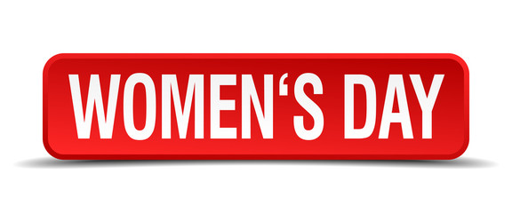 womens day red 3d square button isolated on white