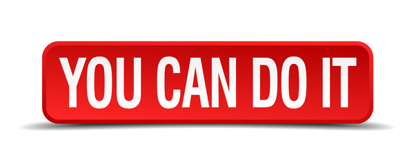 You can do it red 3d square button isolated on white