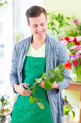 canvas print picture Florist arbeitet in Blumenladen mit Blume