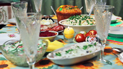 Easter in Ukrainian style, focusing on glass, and then to cake