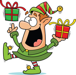 Cartoon Christmas Elf Happy