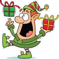 Cartoon Christmas Elf Happy