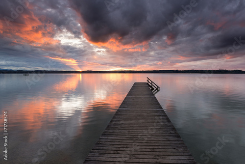 canvas print picture Abends am See