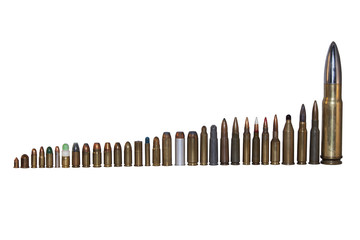 various types and calibers of ammunition, sorted by size