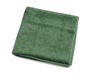 green towel on a white background