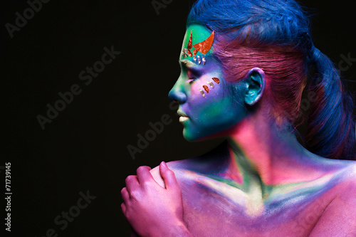 Portrait of beautiful woman with body art - 71739145