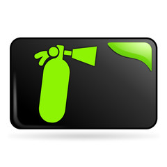 extincteur sur bouton web rectangle vert