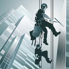 Climbers clean windows