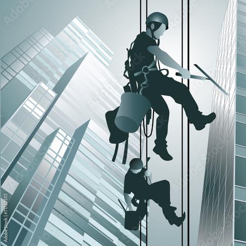 Climbers clean windows - 71739503