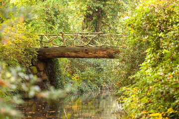alte Holzbrücke am Weiher