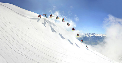 Backcountry Snowboarding Jump