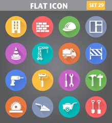 Building, Construction and Tools Icons set in flat style with lo